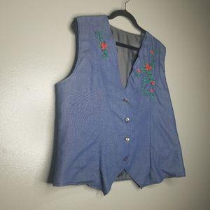 Vintage Womens 70's 80's Denim Vest Embroidery XL